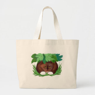 Brown Tuxedo Cat Shelters under Maple Leaves When Large Tote Bag