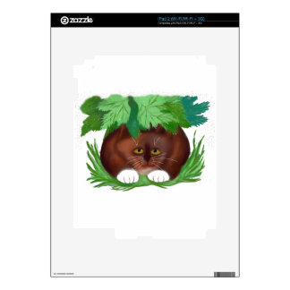 Brown Tuxedo Cat Shelters under Maple Leaves When Skins For iPad 2