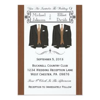 Brown Tuxedo Gay Wedding Invitations