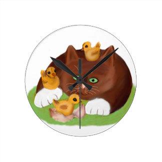 Brown Tuxedo Kitten and Three Newly Hatched Chicks Round Wallclock