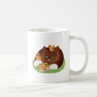 Brown Tuxedo Kitten and Three Newly Hatched Chicks Coffee Mug