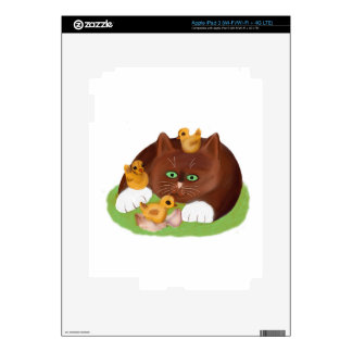 Brown Tuxedo Kitten and Three Newly Hatched Chicks iPad 3 Decals