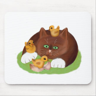 Brown Tuxedo Kitten and Three Newly Hatched Chicks Mouse Pad
