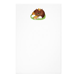 Brown Tuxedo Kitten and Three Newly Hatched Chicks Personalized Stationery