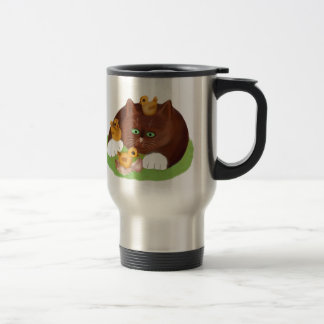 Brown Tuxedo Kitten and Three Newly Hatched Chicks Travel Mug