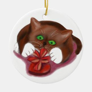 Brown Tuxedo Kitten Attacks Heart Box of Chocolate Ceramic Ornament