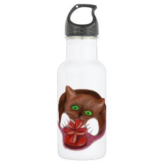 Brown Tuxedo Kitten Attacks Heart Box of Chocolate 18oz Water Bottle