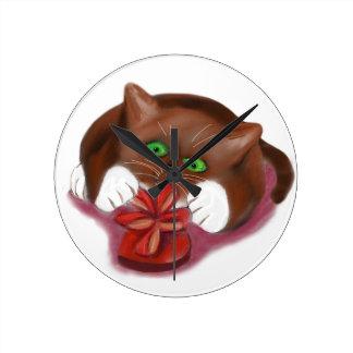 Brown Tuxedo Kitten Attacks Heart Box of Chocolate Round Clock