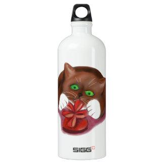 Brown Tuxedo Kitten Attacks Heart Box of Chocolate SIGG Traveler 1.0L Water Bottle