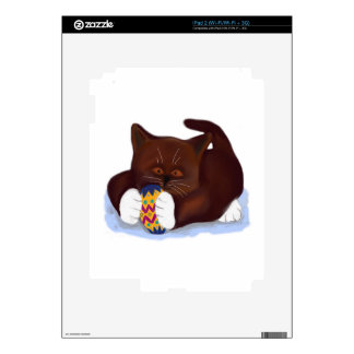 Brown Tuxedo Kitten Finds an Easter Egg Decal For The iPad 2