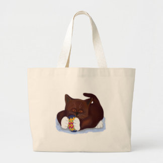 Brown Tuxedo Kitten Finds an Easter Egg Large Tote Bag