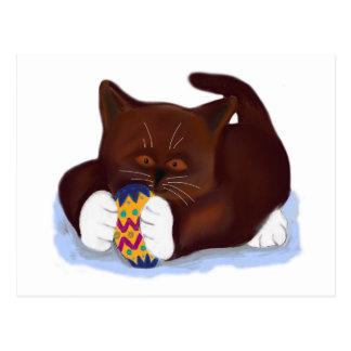 Brown Tuxedo Kitten Finds an Easter Egg Postcard