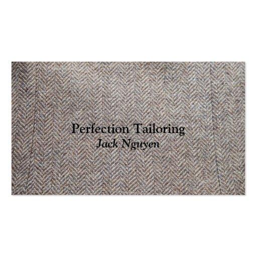 Brown tweed fabric business card