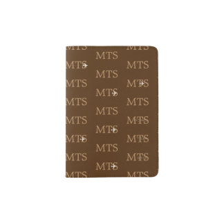 brown typography pattern of initials, travel passport holder
