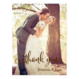 Brown Typography Wedding Thank You Postcard