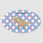 Brown unicorn on purple and blue argyle background oval stickers