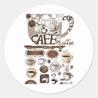 brown vector coffee classic round sticker