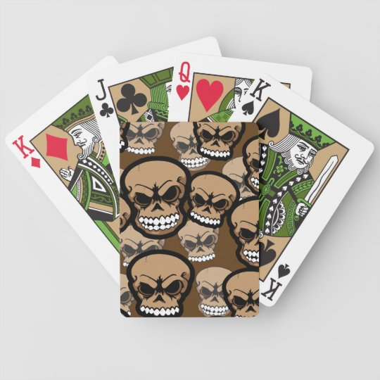 Brown Vector Skull Camo Pattern Bicycle Cards