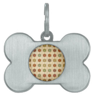 Brown Vintage Abstract Flowers Art Pattern Pet Tags