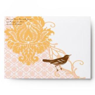Brown Vintage Bird Coral and Pink Wedding Envelope envelope