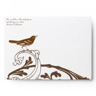 Brown Vintage Bird Wedding Envelopes envelope