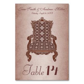 Brown vintage elegant chair Number Card table card