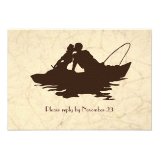 Brown Vintage Fishing Lovers Boat rsvp Announcements