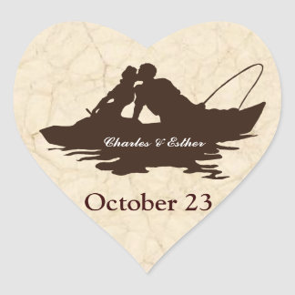 Brown Vintage Fishing Lovers Save the Date Heart Sticker