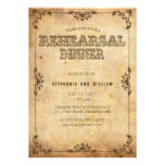 Brown Vintage Floral Rehearsal Dinner Card Invitation