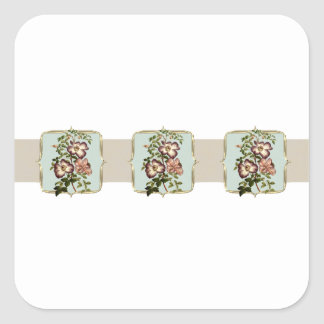 Brown Vintage Flowers Wide Square Sticker