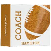 Brown Vintage Football Coach Personalized Trendy 3 Ring Binder