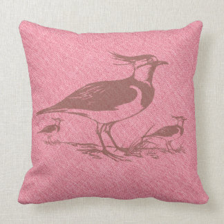 Brown Vintage Lapwing Birds Over Faux Pink Linen Throw Pillow