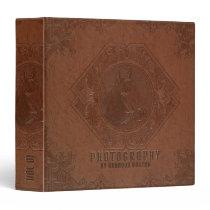 Brown vintage leather embossed horse head 3 ring binder