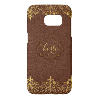 Brown Vintage Leather Gold Floral Frame Samsung Galaxy S7 Case