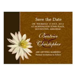 brown vintage lily blossom save the date postcards