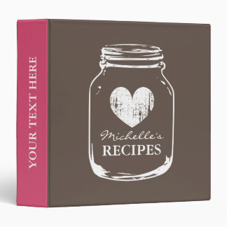 Brown vintage mason jar kitchen recipe binder book