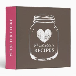 Brown vintage mason jar kitchen recipe binder book