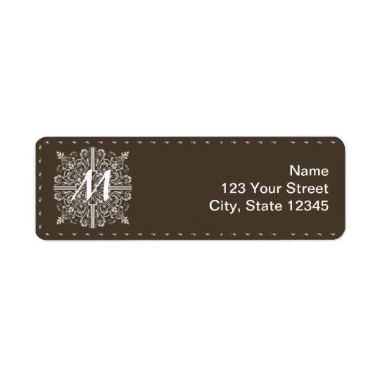 Brown Vintage Monogram Business Label