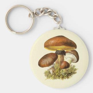 Brown Vintage Mushroom Basic Round Button Keychain
