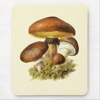 Brown Vintage Mushroom Mouse Pad