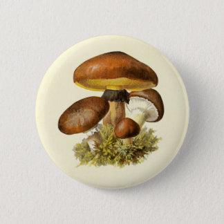 Brown Vintage Mushroom Pinback Button