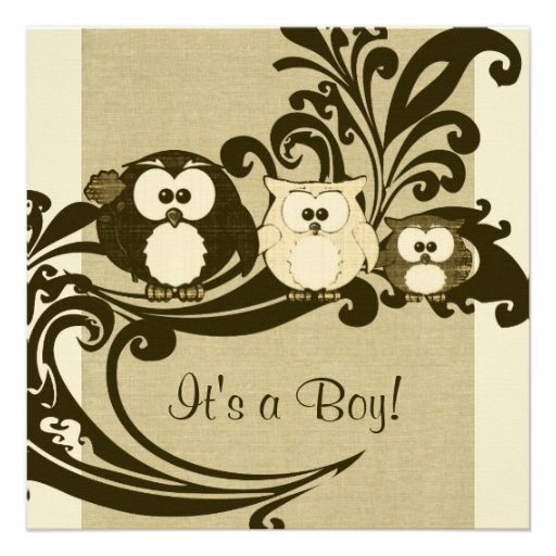 Personalized owl baby shower invitations custominvitations4u brown vintage owl family baby shower invitation filmwisefo