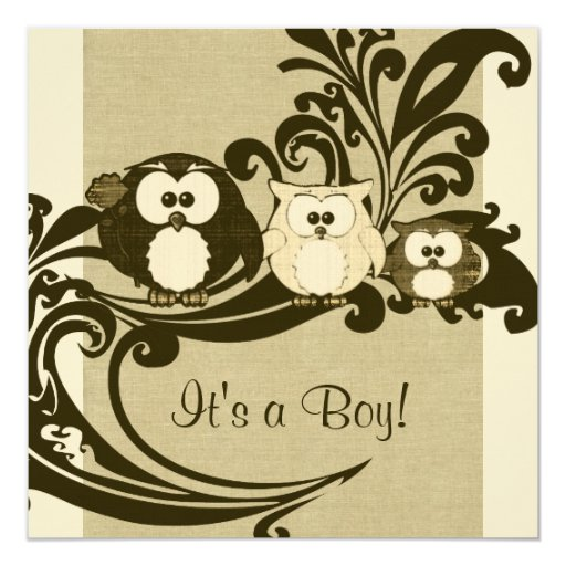 Brown Vintage Owl Family Baby Shower Invitation