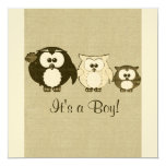 "Brown Vintage Owl Family Baby Shower Invitation 5.25"" Square Invitation Card"