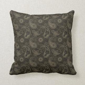 Brown Vintage Paisley Pattern Pillow