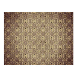 Brown Vintage Palm Abstract Pattern Post Card