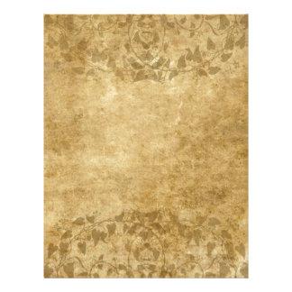 Brown Vintage paper parchment and vines Letterhead