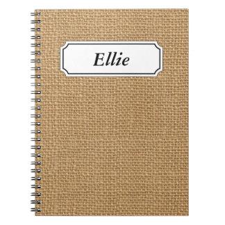 Brown vintage rustic burlap texture notebook
