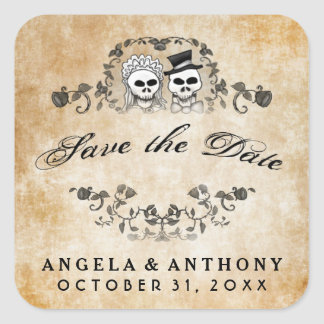 Brown Vintage Skeletons Wedding Save the Date Square Sticker
