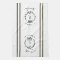 Brown Vintage Style French Sack with Custom Name Kitchen Towel